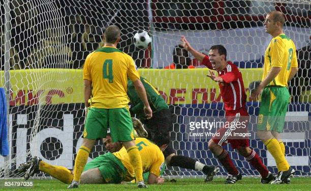 Russia's Pavel Pogrebniak celebrates scoring during the World Cup Qualifying match at the Lokomotiv Stadium Moscow Russia