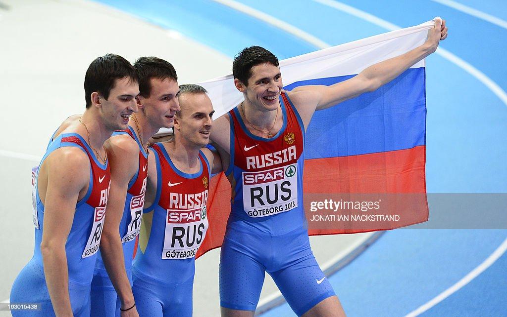Russia's Pavel Trenikhin, Konstantin Svechkar, Yuriy Trambovetskiy and Vladimir Krasnov celebrates placing 2nd in the 4x400m Men's Relay Final at the European Indoor Athletics Championships in Gothenburg, Sweden, on March 3, 2013.