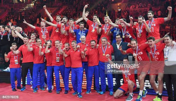 TOPSHOT Russia's players celebrate winning the 2017 CEV Men's Volleyball European Championship at Tauron Arena in Krakow Poland on September 3 2017 /...