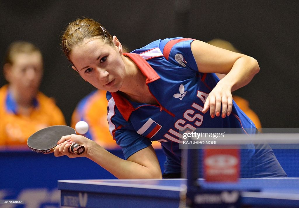 Russia's Polina Mikhailova returns a shot against the Netherlands' Li Jie during their match in the women's team championship division group C at the 2014 World Team Table Tennis Championships in Tokyo on May 1, 2014.