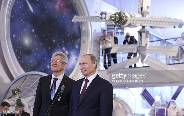 Russia's President Vladimir Putin accompanied by Giovanni Bignami president of the Committee on Space Research visits the Cosmonautics Memorial...