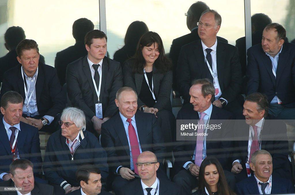 Russia's President Vladimir Putin (C) and Formula 1 Executive Bernie Ecclestone (L) and former IOC member Jean-Claud Killiy (R) are seen during the Formula One Russian Grand Prix at the Sochi Autodrom racetrack on May 1, 2016 in Sochi, Russia.