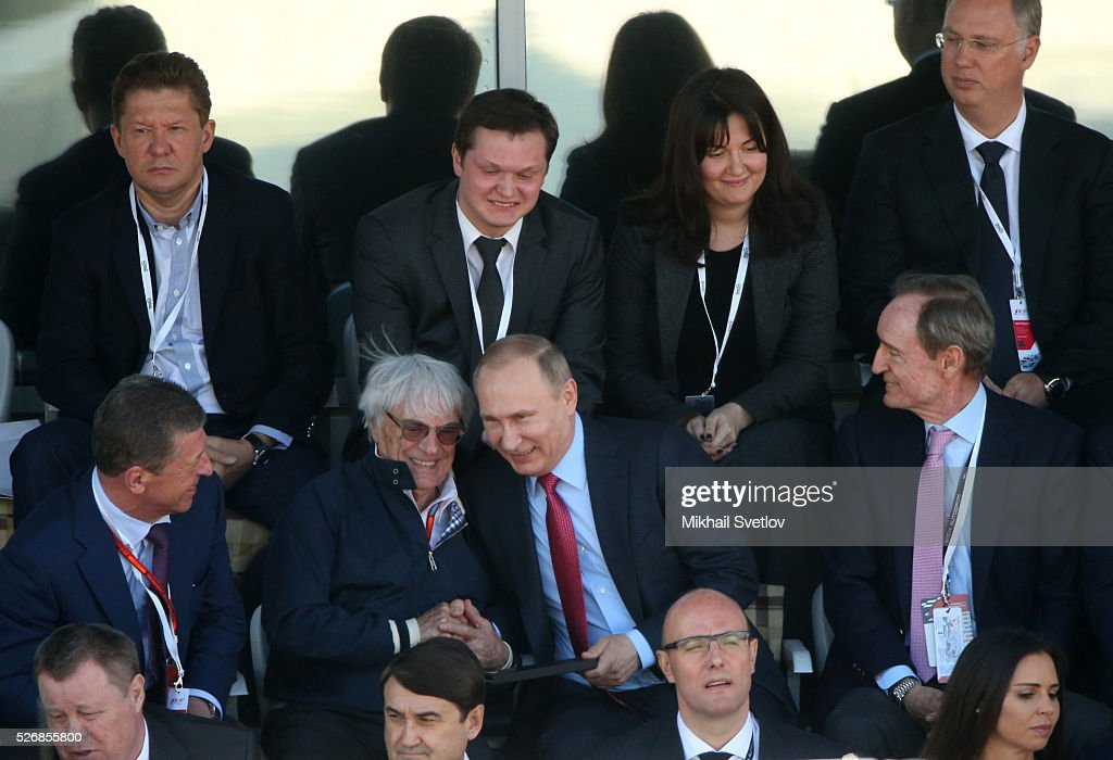 Russia's President Vladimir Putin (R) and Formula 1 Executive Bernie Ecclestone (L) are seen during the Formula One Russian Grand Prix at the Sochi Autodrom racetrack on May 1, 2016 in Sochi, Russia.