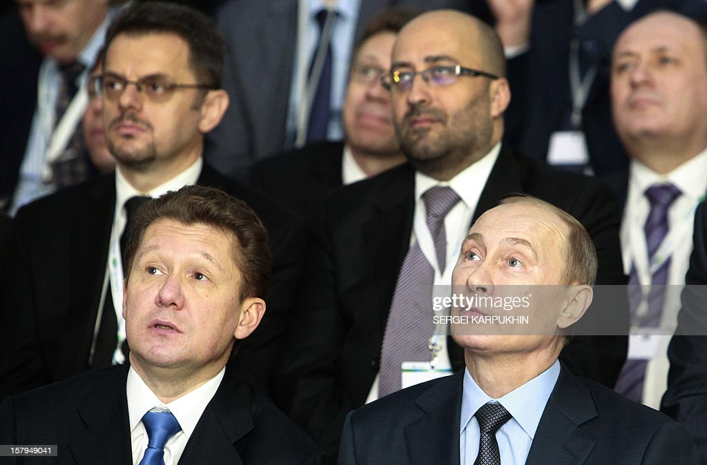 Russia's President Vladimir Putin (R) and gas giant Gazprom CEO, Alexei Miller (L) attend a ceremony to launch the construction of South Stream gas pipeline outside the Black Sea resort town of Anapa, on December 7, 2012. Putin launched yesterday construction of the long-awaited South Stream pipeline that the Kremlin hopes will pump Russia's gas to Europe while avoiding its unpredictable neighbour Ukraine. AFP PHOTO / POOL /SERGEI KARPUKHIN
