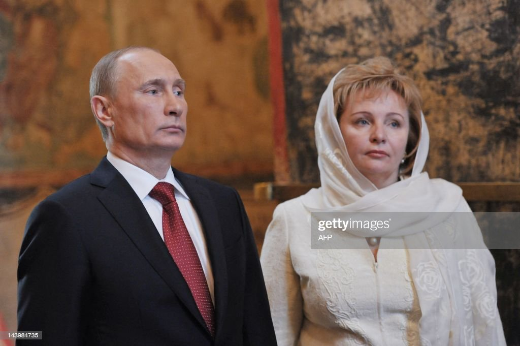 Russia's President <a gi-track='captionPersonalityLinkClicked' href=/galleries/search?phrase=Vladimir+Putin&family=editorial&specificpeople=154896 ng-click='$event.stopPropagation()'>Vladimir Putin</a> and his wife Lyudmila attend a service at Blagoveshchensky (the Annunciation) cathedral in Moscow's Kremlin, on May 7, 2012, after Putin's inauguration ceremony. Putin took his oath of office today to become Russia's president for a historic third mandate at a glittering ceremony inside the Kremlin.