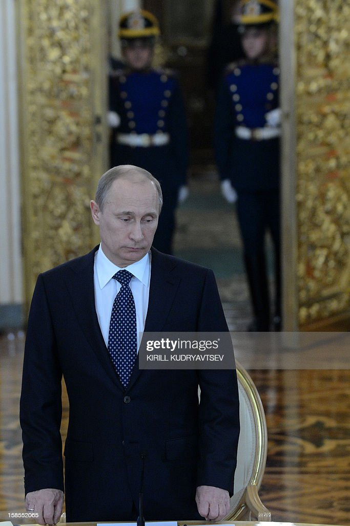 Russia's President Vladimir Putin arrives for a meeting with the leaders of of Belarus, Kazakhstan and Armenia in the Kremlin in Moscow, on December 19, 2012. Russia sought today to expand its sway over ex-Soviet nations as it hosted economic integration talks Washington has painted as an attempt by Moscow to 're-Sovietise' the region.