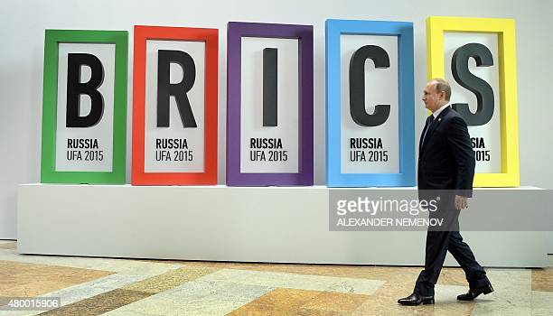 Russia's President Vladimir Putin arrives for a welcome ceremony in Ufa on July 9 2015 at the start of the 7th BRICS summit Leaders of the BRICS...