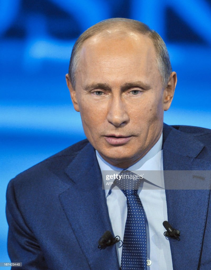 Russia's President Vladimir Putin holds a televised question and answer session with the nation in Moscow, on April 25, 2013.