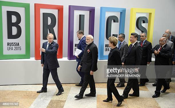 Russia's President Vladimir Putin Indian Prime Minister Narendra Modi Brazil's President Dilma Rousseff China's President Xi Jinping and South...