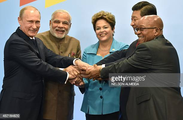 Russia's President Vladimir Putin India's Prime Minister Narendra Modi Brazilian President Dilma Rousseff China's President Xi Jinping and South...
