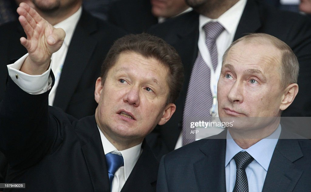 Russia's President Vladimir Putin (R) listens to gas giant Gazprom CEO, Alexei Miller (L) during a ceremony to launch the construction of South Stream gas pipeline outside the Black Sea resort town of Anapa, on December 7, 2012. Putin launched yesterday construction of the long-awaited South Stream pipeline that the Kremlin hopes will pump Russia's gas to Europe while avoiding its unpredictable neighbour Ukraine.