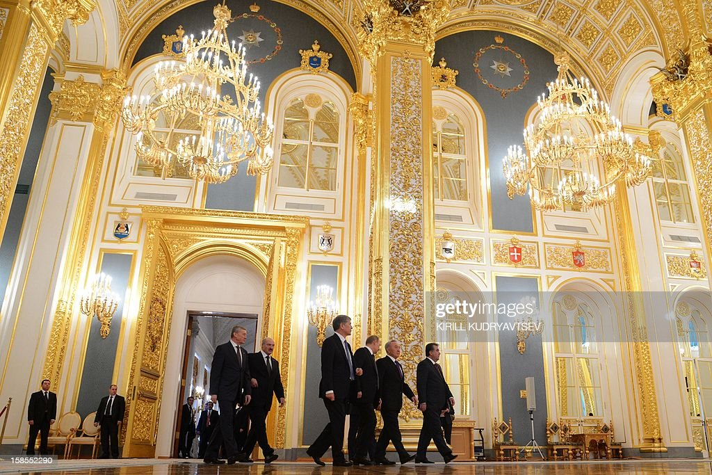 Russia's President Vladimir Putin (3rd R) meeting the leaders ex-Soviet nations in the Kremlin in Moscow, on December 19, 2012, with Belarus President Alexander Lukashenko (2nd R), Kyrgyz President Almazbek Atambayev (3rd L) Kazakh President Nursultan Nazarbayev (2nd R), Tajik President Emomali Rakhmon (R) and Collective Security Treaty Organisation (CSTO) chairman Nikolai Bordyuzha (L)attending. Russia sought today to expand its sway over ex-Soviet nations as it hosted economic integration talks Washington has painted as an attempt by Moscow to 're-Sovietise' the region.