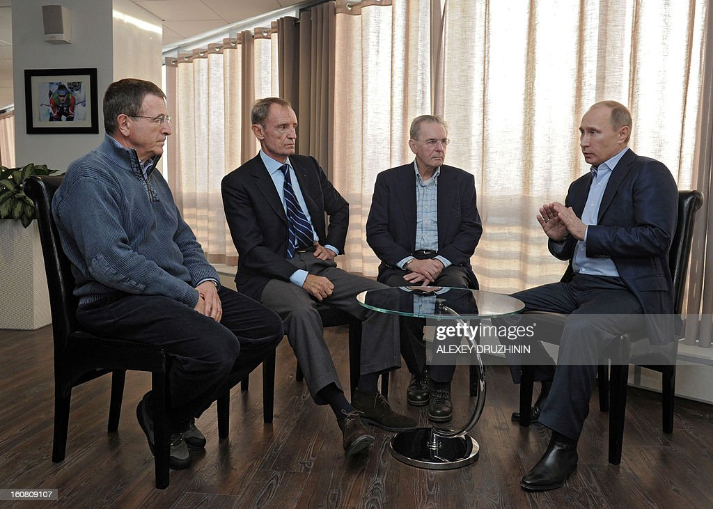 Russia's President Vladimir Putin (R) meets (L-R) IOC Executive Director for the Olympic Games Gilbert Felli, Head of the International Olympic Committee's coordination commission Jean-Claude Killy and IOC President Jacques Rogge in the Black Sea city of Sochi, on February 6, 2013. Nestled between the Caucasus Mountains and the Black Sea in Russia's south, the resort city of Sochi was chosen to host the 2014 Winter Olympic Games thanks to Putin's vigorous efforts.