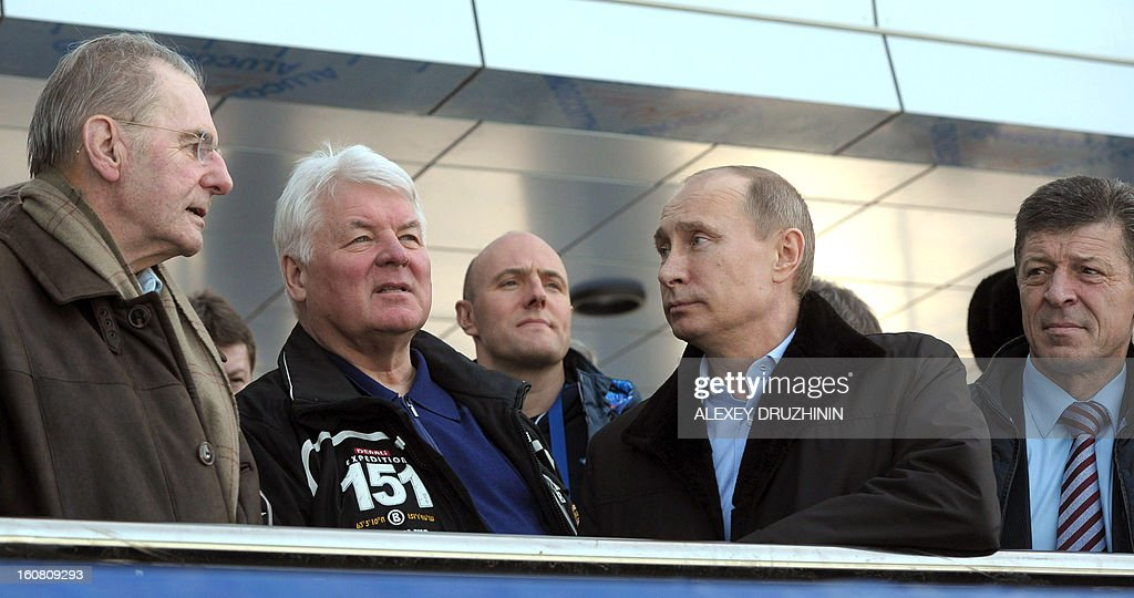 Russia's President Vladimir Putin (2nd R) meets IOC President Jacques Rogge (L) at the Gornaya Karusel (Mountain Carousel) sports and holiday complex, that will be used at the 2014 Winter Olympics, in the Black Sea city of Sochi, on February 6,2013 with the head of the Sochi 2014 Olympic preparatory commission Deputy Prime Minister Dmitry Kozak (R) and Sochi 2014 CEO Dmitry Chernyshenko (C)accompanying Putin. Nestled between the Caucasus Mountains and the Black Sea in Russia's south, the resort city of Sochi was chosen to host the 2014 Winter Olympic Games thanks to Putin's vigorous efforts.