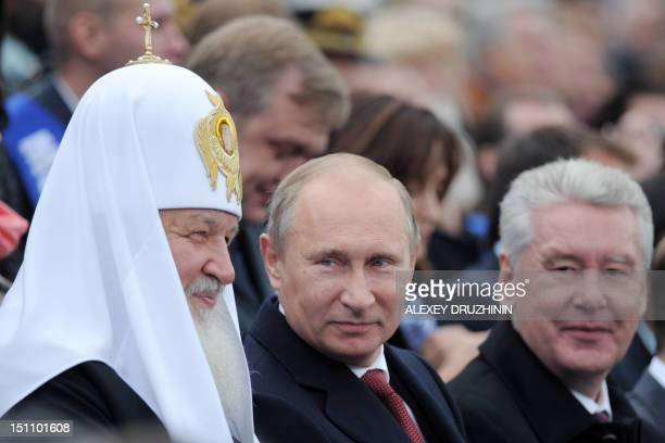 Russia's President Vladimir Putin Russian Orthodox Patriarch Kirill and Moscow mayor Sergey Sobyanin take part an opening ceremony of Moscow's City...