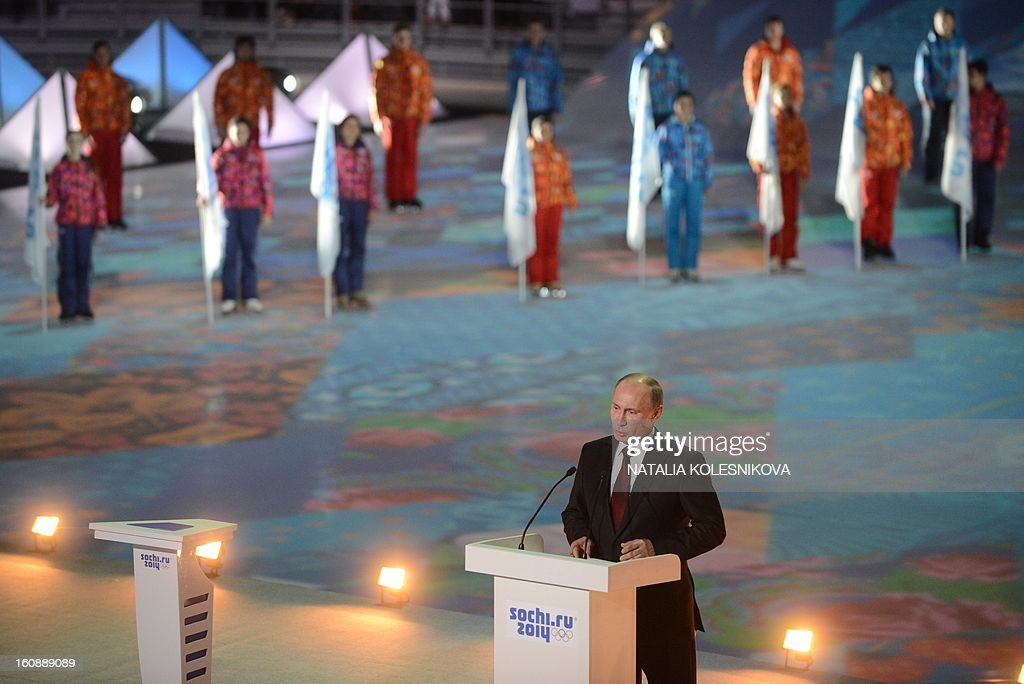 Russia's President Vladimir Putin speaks at a ceremony celebrating the one year countdown to the Sochi 2014 Winter Olympics opening at the Bolshoi Ice Dome rink in the Black Sea city of Sochi, on February 7, 2013. Putin vowed today Russia would justify expectations when it hosts the Winter Olympic Games in Sochi in one year, after ruthlessly firing an official blamed for delays in building infrastructure.