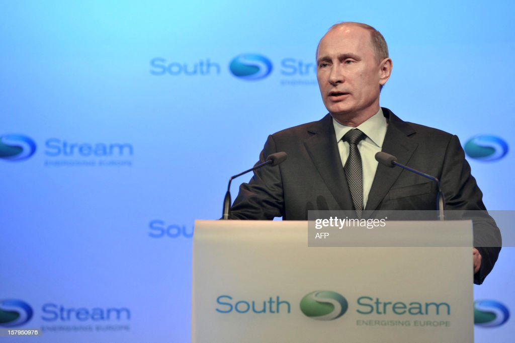 Russia's President Vladimir Putin speaks at a ceremony to launch the construction of South Stream gas pipeline outside the Black Sea resort town of Anapa, on December 7, 2012. Putin launched yesterday construction of the long-awaited South Stream pipeline that the Kremlin hopes will pump Russia's gas to Europe while avoiding its unpredictable neighbour Ukraine. AFP PHOTO/ RIA-NOVOSTI/ POOL/ ALEXEI NIKOLSKY