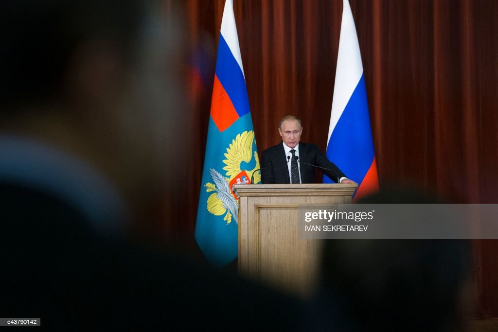 Russia's President Vladimir Putin speaks at a meeting of Russian ambassadors and permanent representatives in foreign countries held at the Foreign Ministry in Moscow on June 30, 2016. / AFP / POOL / Ivan Sekretarev