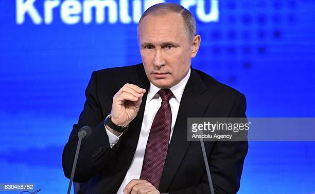 Russia's President Vladimir Putin speaks during his annual endofyear news conference at Moscow's World Trade Centre in Moscow Russia on December 23...