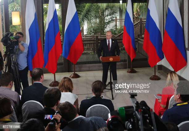 Russia's President Vladimir Putin speaks to the media during the AsiaPacific Economic Cooperation leaders' summit in the central Vietnamese city of...