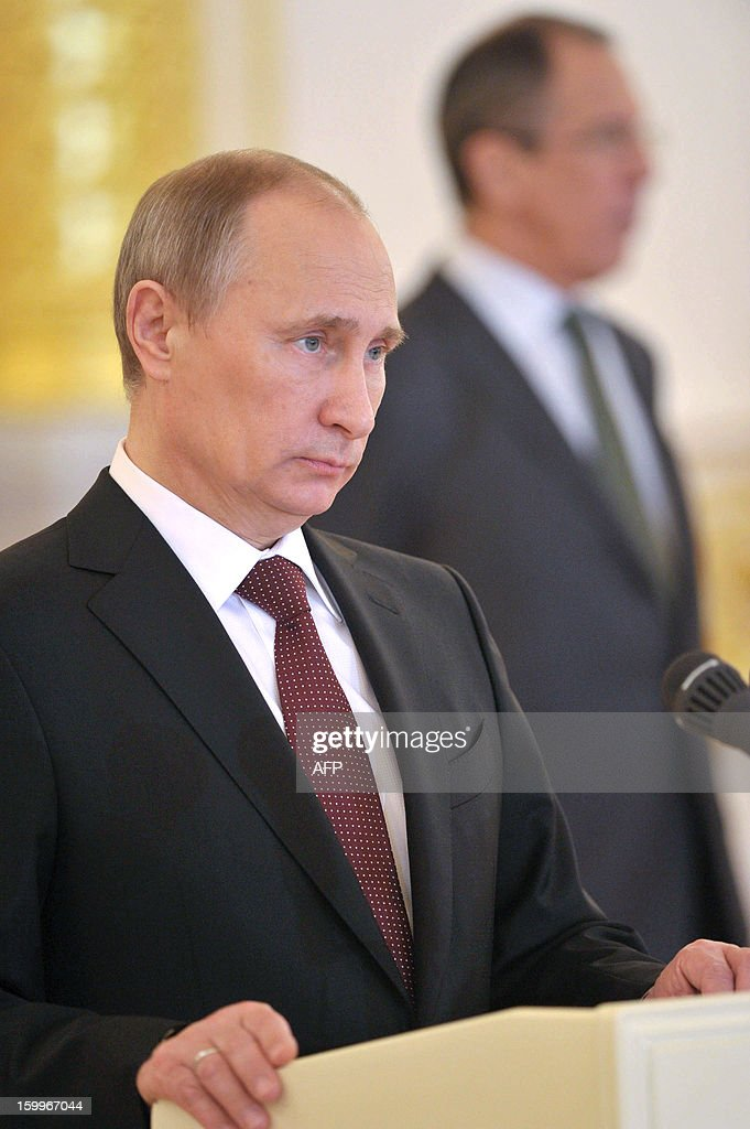 Russia's President Vladimir Putin takes part in a ceremony of receiving ambassadors' credentials in the Kremlin in Moscow, on January 24, 2013.