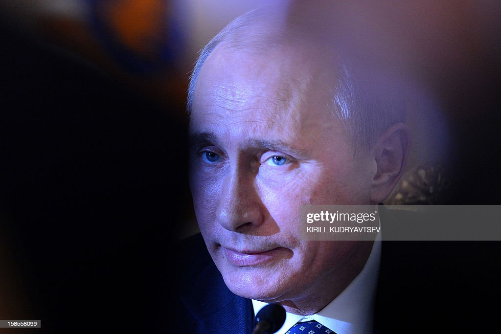 Russia's President Vladimir Putin takes part in a meeting of the ex-Soviet nations leaders in the Kremlin in Moscow, on December 19, 2012. Russia sought today to expand its sway over ex-Soviet nations as it hosted economic integration talks Washington has painted as an attempt by Moscow to 're-Sovietise' the region.