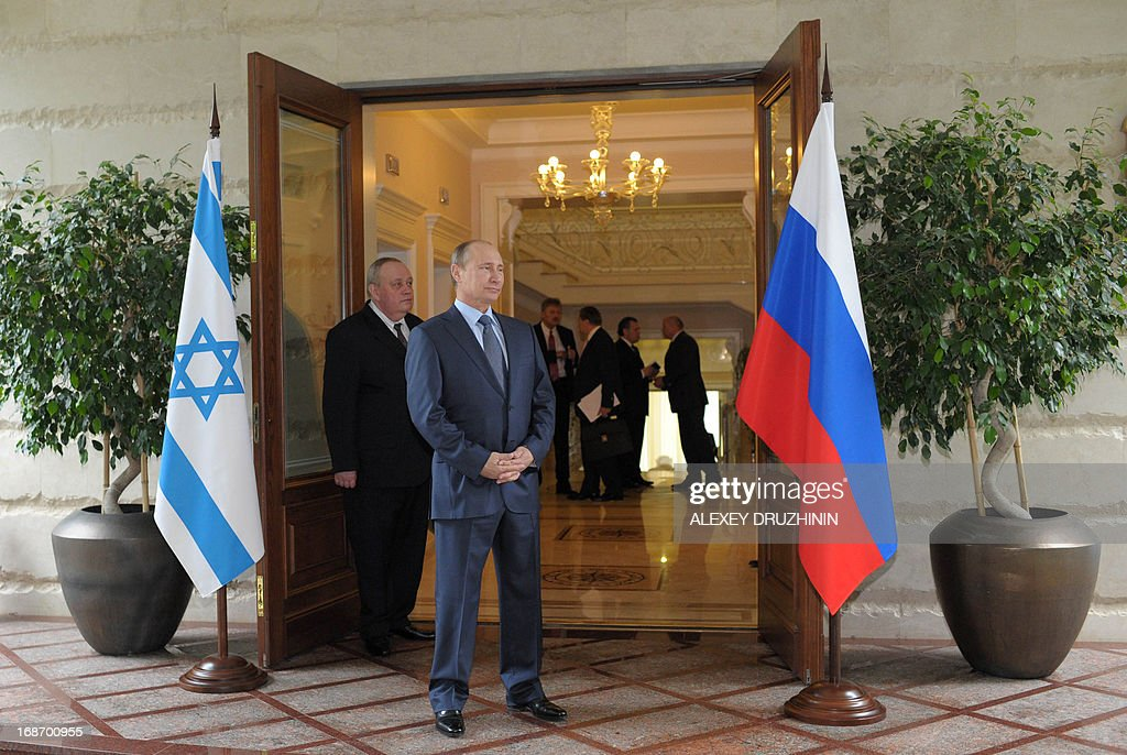 Russia's President Vladimir Putin waits for the arrival of Israeli Prime Minister Benjamin Netanyahu before their meeting at Putin's residence in the Black Sea resort of Sochi, on May 14, 2013. Putin and Netanyahu began talks today on the conflict in Syria amid growing concern about Moscow's continuing arms deliveries to the Damascus regime and a spiralling death toll.
