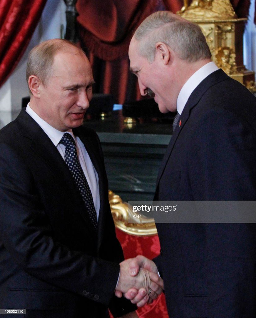 Russia's President Vladimir Putin welcomes his Belarus counterpart Alexander Lukashenko in the Kremlin in Moscow, on December 19, 2012. Russia sought today to expand its sway over ex-Soviet nations as it hosted economic integration talks Washington has painted as an attempt by Moscow to 're-Sovietise' the region.