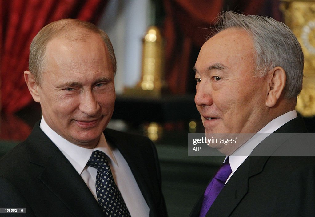 Russia's President Vladimir Putin welcomes his Kazakh counterpart Nursultan Nazarbayev in the Kremlin in Moscow, on December 19, 2012. Russia sought today to expand its sway over ex-Soviet nations as it hosted economic integration talks Washington has painted as an attempt by Moscow to 're-Sovietise' the region.