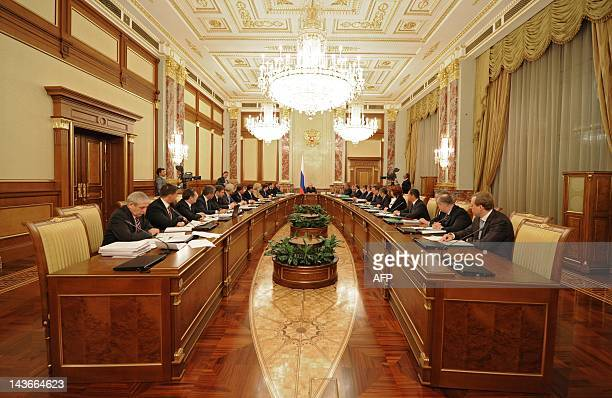 Russia's Prime Minister and Presidentelect Vladimir Putin chairs a Cabinet meeting in the government headquarters in Moscow on May 2 2012 AFP PHOTO/...