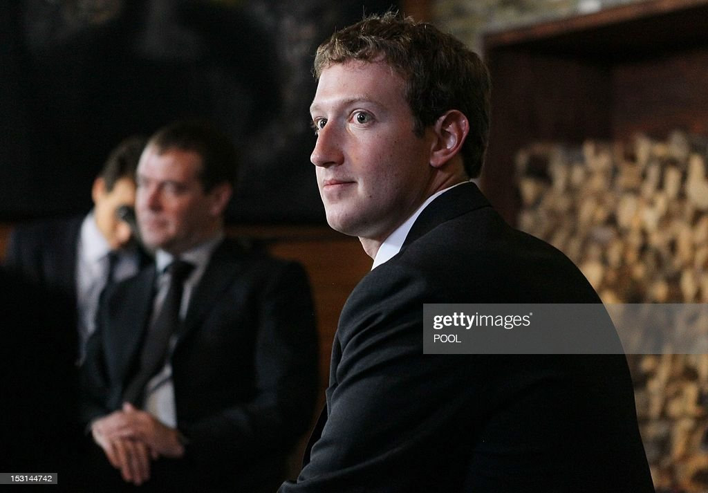 Russia's Prime Minister Dmitry Medvedev (L) and Facebook CEO Mark Zuckerberg (R) meet at the Gorki residence outside Moscow, on October 1, 2012. Zuckerberg was today in Moscow on a visit the government believes should stimulate innovation in Russia and the social network hopes will boost its position in the Russian market.