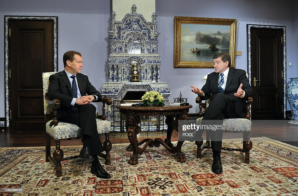 Russia's Prime Minister Dmitry Medvedev (L) and International Labour Organisation director general Guy Ryder meet at the Gorki residence, outside Moscow, on December 10, 2012.