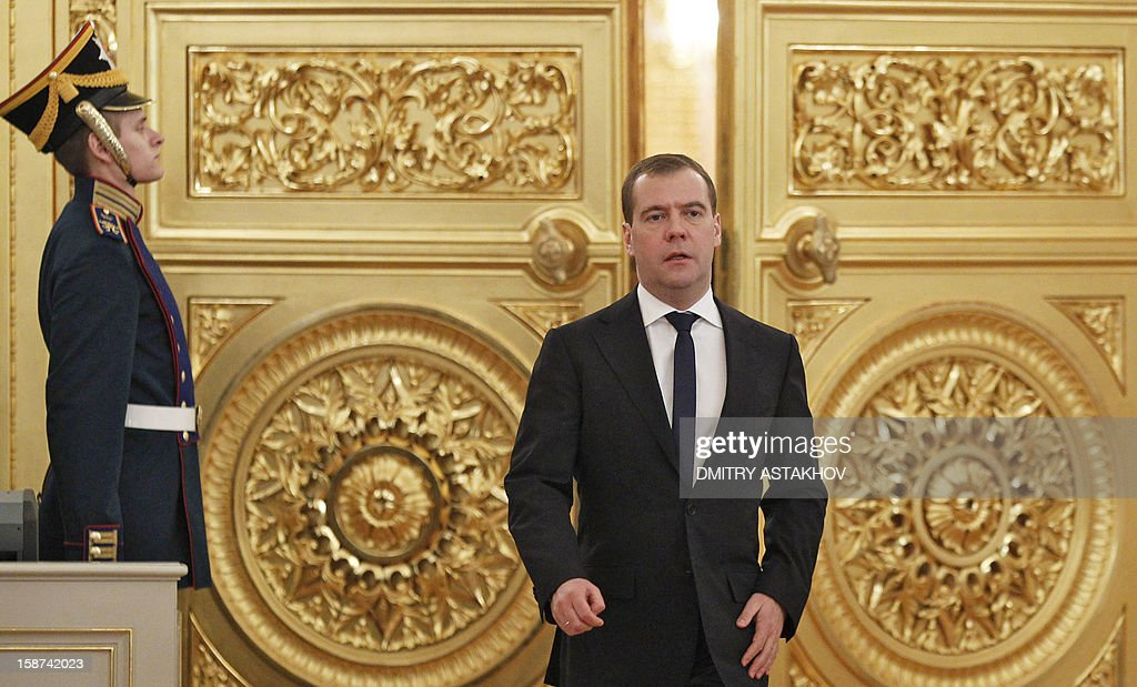 Russia's Prime Minister Dmitry Medvedev arrives to attend a State Council meeting in the Grand Kremlin Palace in Moscow, on December 27, 2012.