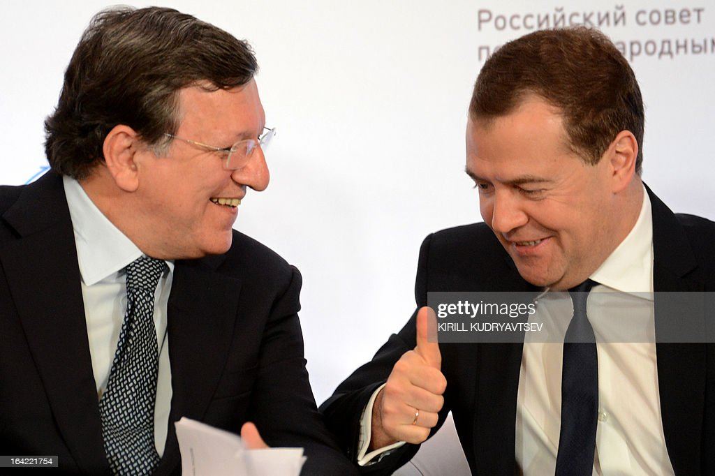 Russia's Prime Minister Dmitry Medvedev meets EU commission President Jose Manuel Barroso in Moscow, on March 21, 2013. Medvedev slammed today current European proposals to solve the Cyprus crisis as absurd, while Cypriot Finance Minister Michalis Sarris was set to hold further talks in Moscow over aid.