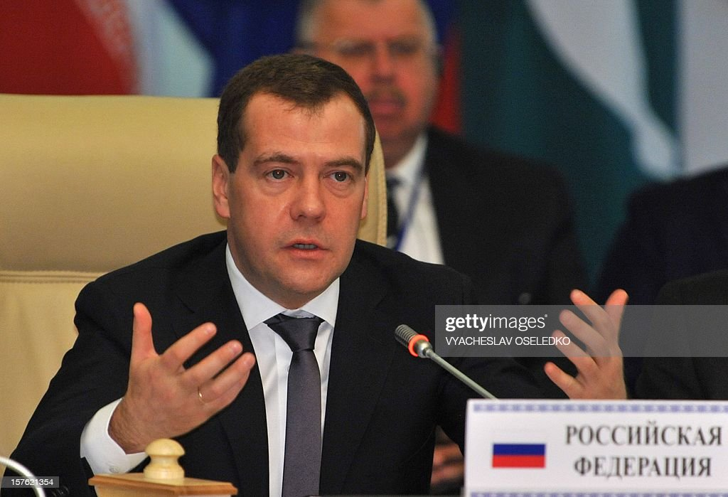 Russia's Prime Minister Dmitry Medvedev speaks at a summit of the Shanghai Cooperation Organization (SCO) at the Ala-Archa state residence in Bishkek on December 5, 2012. The top officials of a grouping led by Russia and China met today to discuss regional issues in the Kyrgyzstan's capital.