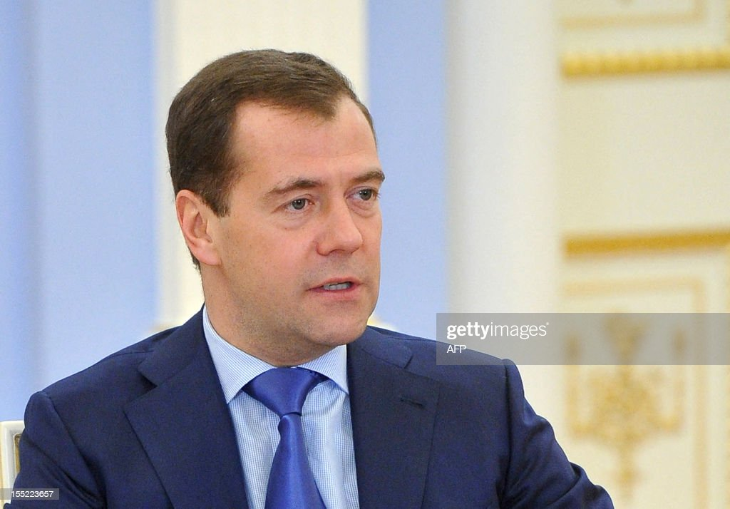 Russia's Prime Minister Dmitry Medvedev speaks during a meeting at his Gorki residence outside Moscow, on November 2, 2012. Medvedev said today that he believed that punk band Pussy Riot should not be in prison, after two members convicted of hooliganism began two-year terms in camps.