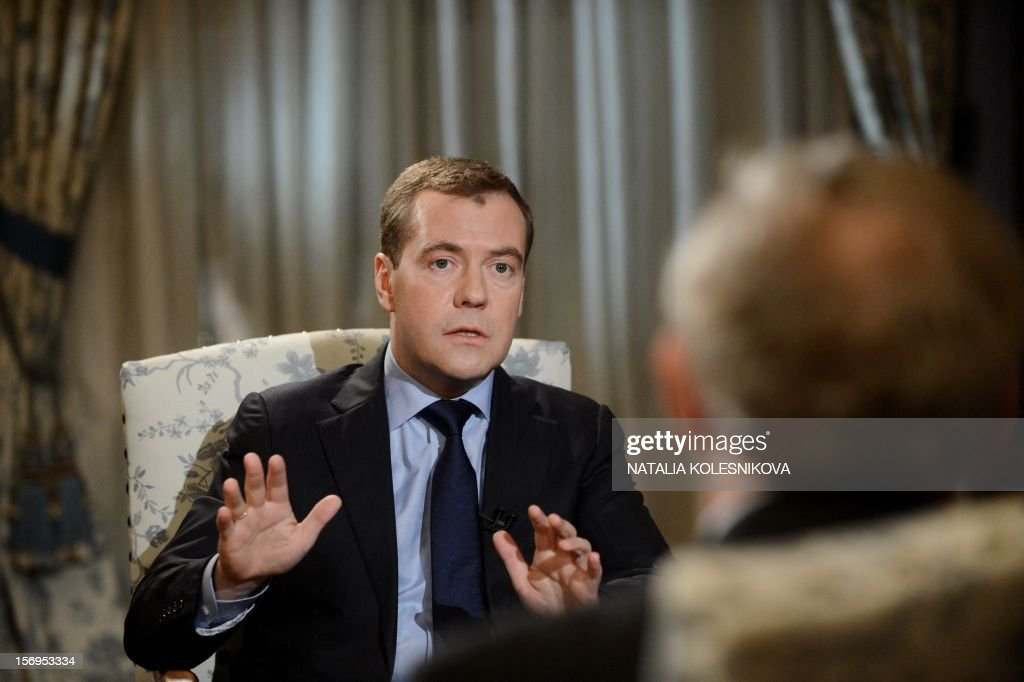 Russia's Prime Minister Dmitry Medvedev speaks during an interview with Agence France Presse and French daily Le Figaro in the Gorki residence outside Moscow, on November 23, 2012. AFP PHOTO / NATALIA KOLESNIKOVA NOVEMBER 26, 2012 at 0500 GMT - THIS
