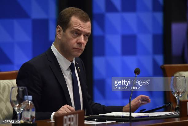 Russia's Prime Minister Dmitry Medvedev takes part in the leaders' 'Retreat 1' at the annual 21member AsiaPacific Economic Cooperation summit in...