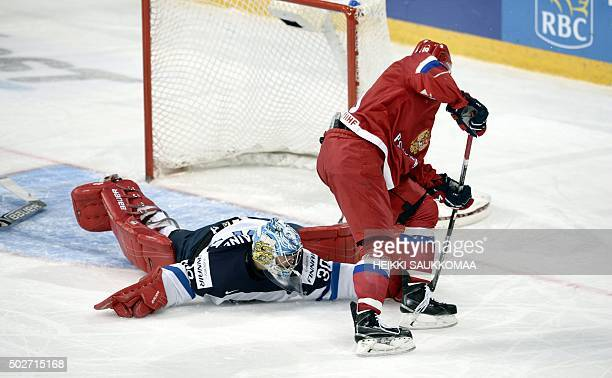 Russia's Radel Fazleyev scores the 64 goal behind Finland's goalie Veini Vehviläinen during the 2016 IIHF World Junior Ice Hockey Championship match...