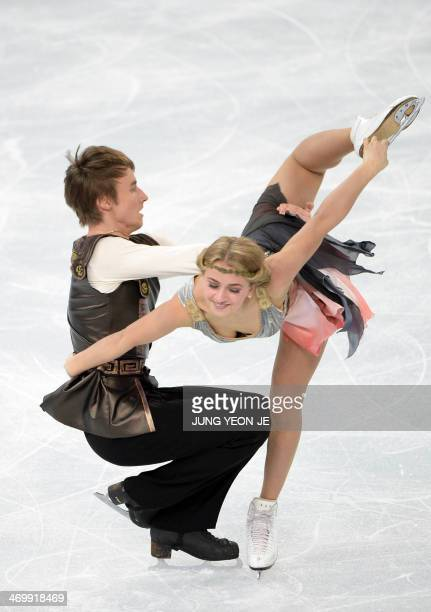 Russia's Ruslan Zhiganshin and Russia's Victoria Sinitsina compete in the Figure Skating Ice Dance Free Dance at the Iceberg Skating Palace during...