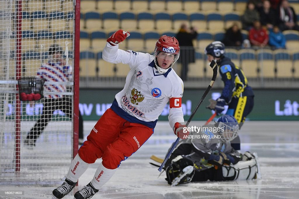 Russia's Sergey Lomanov celebrates his goal during the semifinal Bandy World Championship match Russia vs Kazakhstan in Vanersborg, Sweden on February 2, 2013.