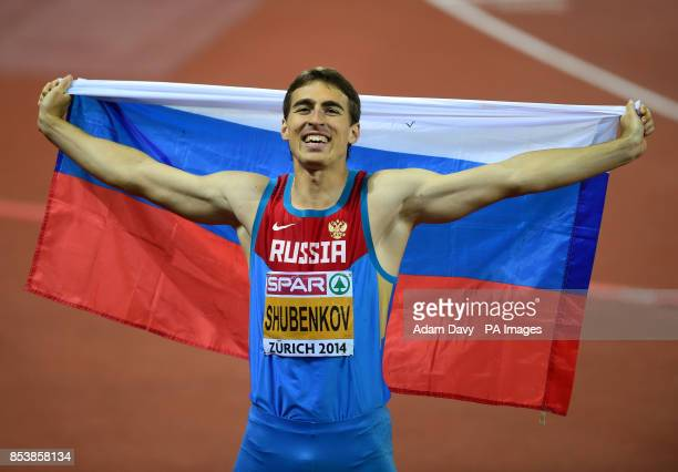 Russia's Sergey Shubenkov celebrates winning the Men's 110m Hurdles Final during day three of the 2014 European Athletics Championships at the...
