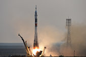 Russia's Soyuz MS01 spacecraft carrying the crew to International Space Station US astronaut from NASA Kate Rubins cosmonaut Anatoly Ivanishin of the...
