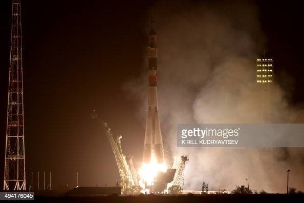 Russia's Soyuz TMA13M spacecraft carrying the International Space Station crew of European Space Agency's German astronaut Alexander Gerst Russian...