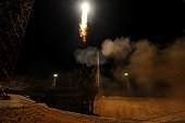 Russia's Soyuz TMA15M spacecraft carrying the International Space Station crew of US astronaut Terry Virts Russian cosmonaut Anton Shkaplerov and...