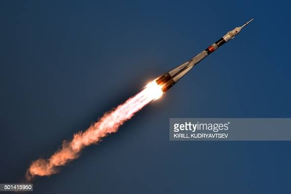 Russia's Soyuz TMA19M spacecraft carrying the International Space Station Expedition 46/47 crew of Britain's astronaut Tim Peake Russian cosmonaut...