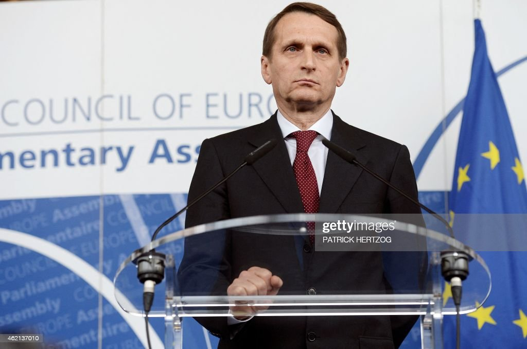 Russia's State Duma speaker <a gi-track='captionPersonalityLinkClicked' href=/galleries/search?phrase=Sergei+Naryshkin&family=editorial&specificpeople=2665931 ng-click='$event.stopPropagation()'>Sergei Naryshkin</a> gives a press conference, on January 25, 2015, after a meeting with Luxemburg's Anne Brasseur, President of the Parliamentary Assembly of the Council of Europe at the Council of Europe in Strasbourg, eastern France. At its April 2014 session PACE stripped the Russian delegation of the right to vote until January 2015 and excluded it from all Assemblys management bodies for Crimeas reunification with Russia. Naryshkin and Brasseur discussed the report of the resolution for one more year.