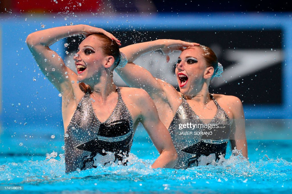 Russia's Svetlana Kolesnichenko and Svetlana Romashina compete in the duet technique preliminary round during the synchronised swimming competition in the FINA World Championships at the Palau Sant Jordi in Barcelona, on July 21, 2013.