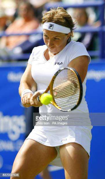 Russia's Svetlana Kuznetsova in action against Ai Sugiyama from Japan during Hasting's Direct International at Devonshire Park Eastbourne
