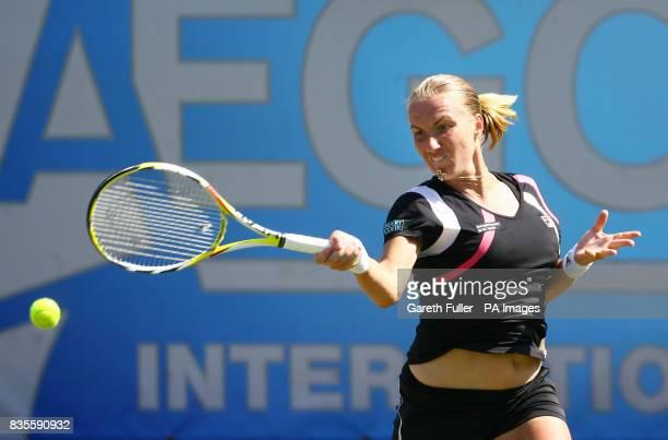 Russia's Svetlana Kuznetsova in action against Aleksandra Wozniak during the AEGON International at Devonshire Park Eastbourne
